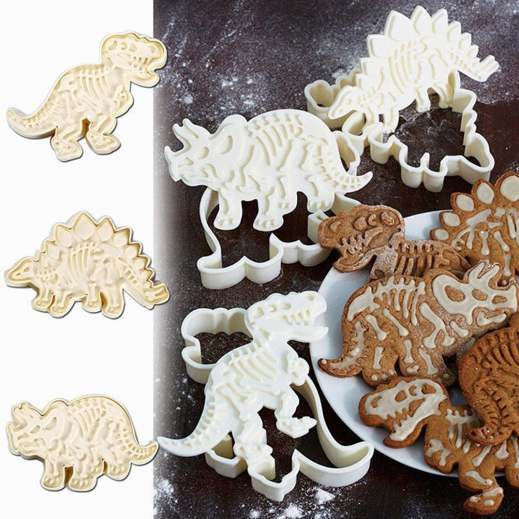 Compia 3pcs Dinosaur Shape Biscuit Cookie Cutter Fondant Cake Decor Baking Mold Tool For Making Cakes, Biscuit, Cookies, Gum Paste
