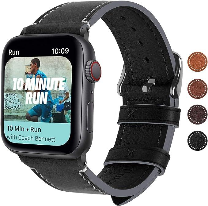 Fullmosa Correa Apple Watch Series SE 6/5/4/3/2/1, 4 Colores, Vintage Pulsera de Cuero Reemplazo de Apple Watch para Mujeres Hombres, Negro + Hebilla Gris Ahumado, 42mm/44mm: Amazon.es: Electrónica