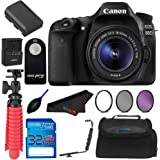 Canon EOS 80D Digital SLR Kit with EF-S 18-55mm Lens (Black) + Elements Accessory Bundle