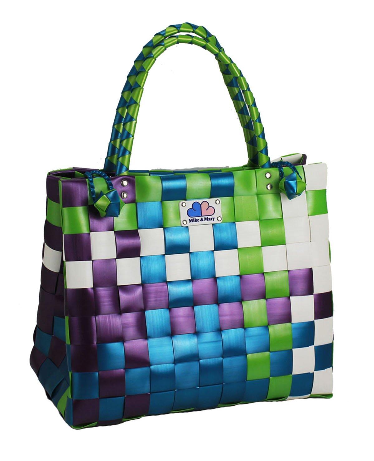 Mike & Mary折りたたみ式ショッピングバッグバスケットBraidedプラスチックハンドバッグファッションWashable Grocery Bag 38Lx21Wx32H グリーン MM-BG-FD-EB150630-MIX3 B013282JE6 グリーン グリーン