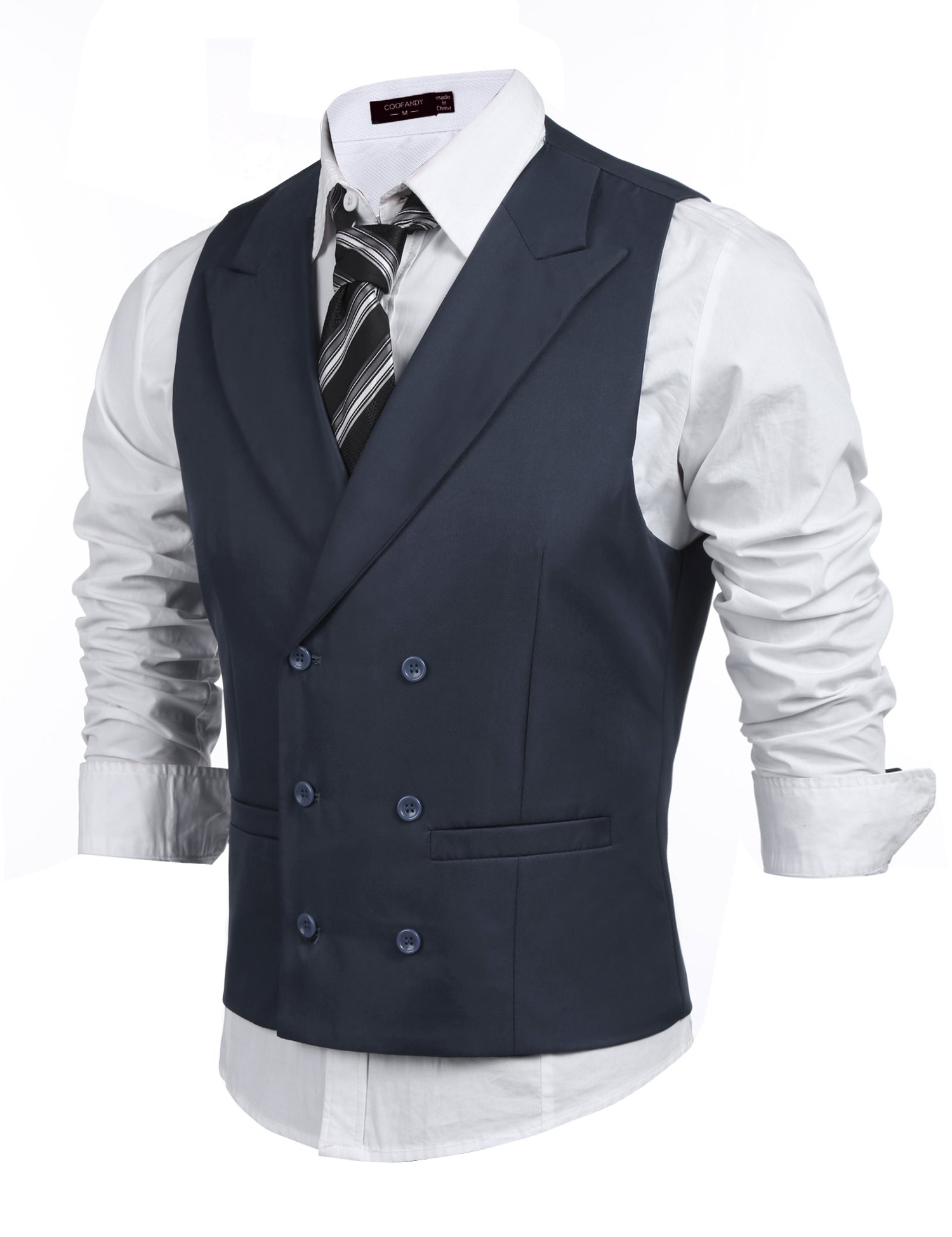 Coofandy Men's Double Breasted Classic Formal Waistcoat Slim Suit Vest, Charcoal, Medium