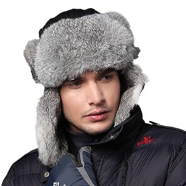 d9e21c86e26 Kenmont Men s 100% Rabbit Hair Trapper Cap Warm Waterproof Winter Earflap  Hat (23.2inch