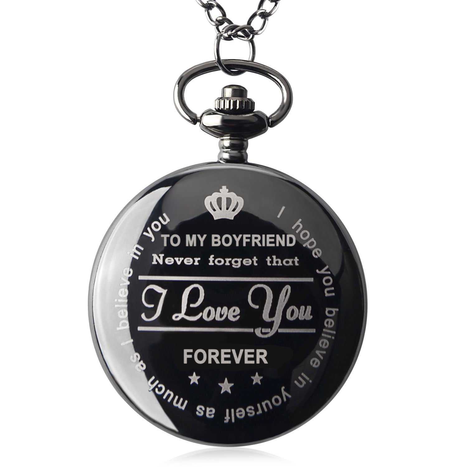 Qise Pocket Watch to My Boyfriend Necklace Chain for Him Surprise Gifts for Men with Black Gift Box (Black Gift for Him)