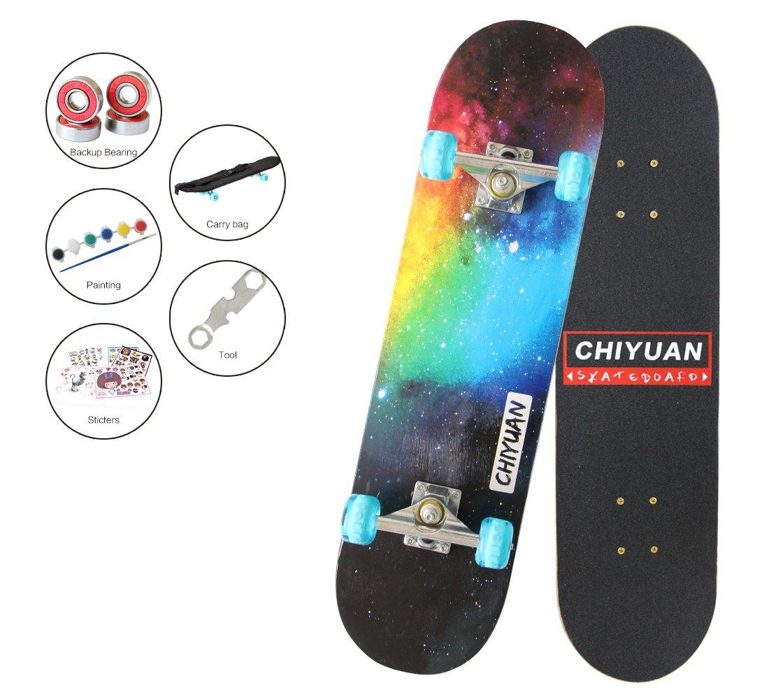 Easy_way Complete Skateboard with Colorful Flashing Wheels for Kids, Boys, Girls, Youths, Beginners 31''x 8''' Canadian Maple Layers (Night Skype)