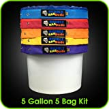 BUBBLEBAGDUDE Bubble Bags 5 Gallon 5 Bag Set - Herbal Ice Bubble Bag Essence Extractor Kit - Comes with Pressing Screen and Storage Bag