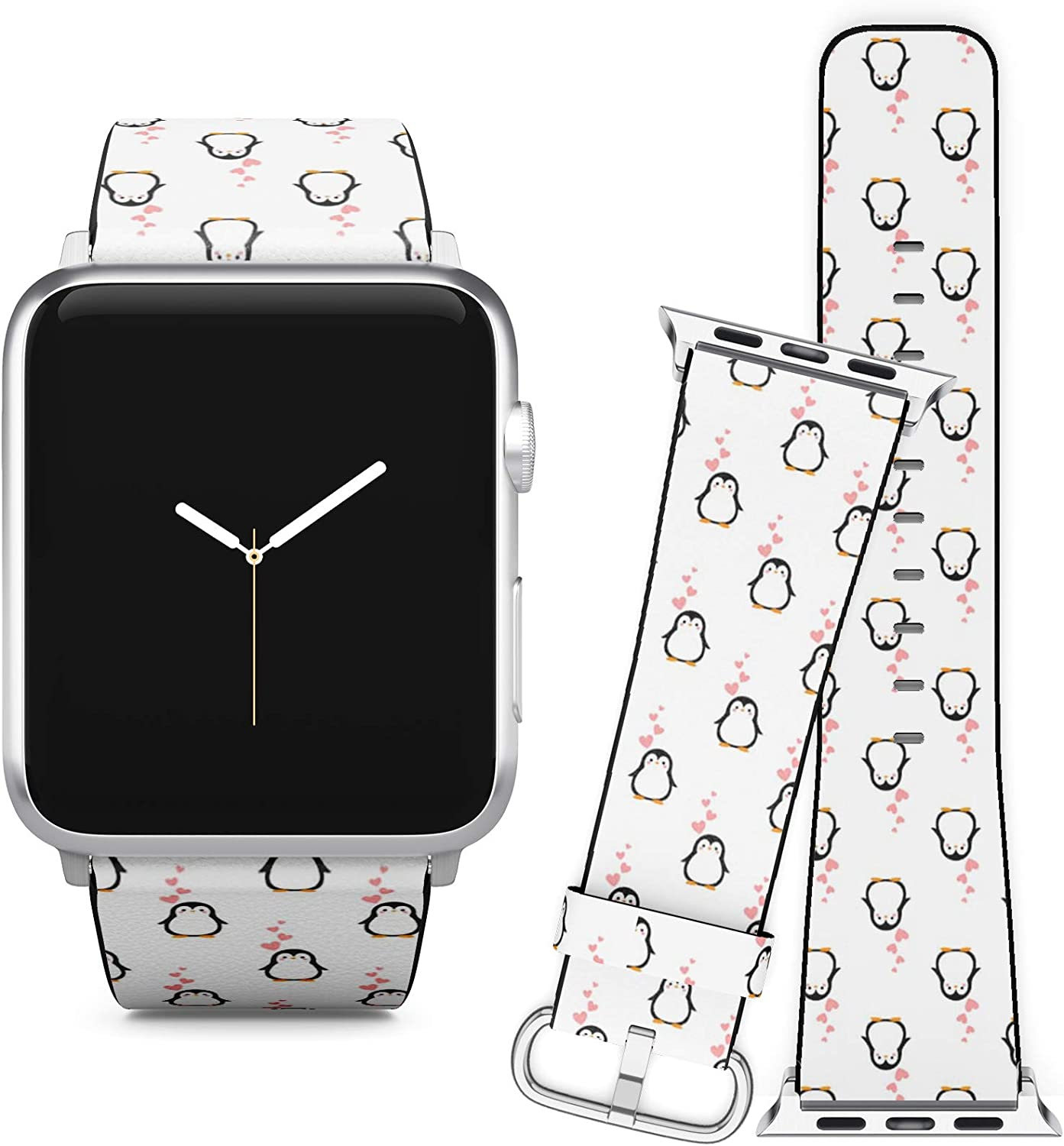 Compatible with Apple Watch (38/40 mm) Series 5, 4, 3, 2, 1 // Leather Replacement Bracelet Strap Wristband + Adapters // Cute Penguin Cartoon