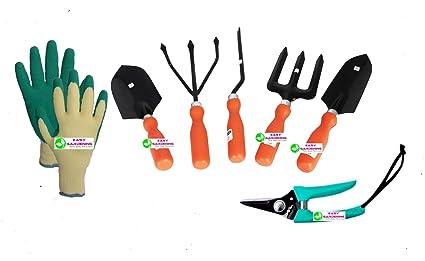 Easy Gardening - 701 - Garden Tools Kit (6Tools) + Knit Gardening Gloves - Weeder,Trowel Big,Trowel Small,Cultivator,Fork, Pruner