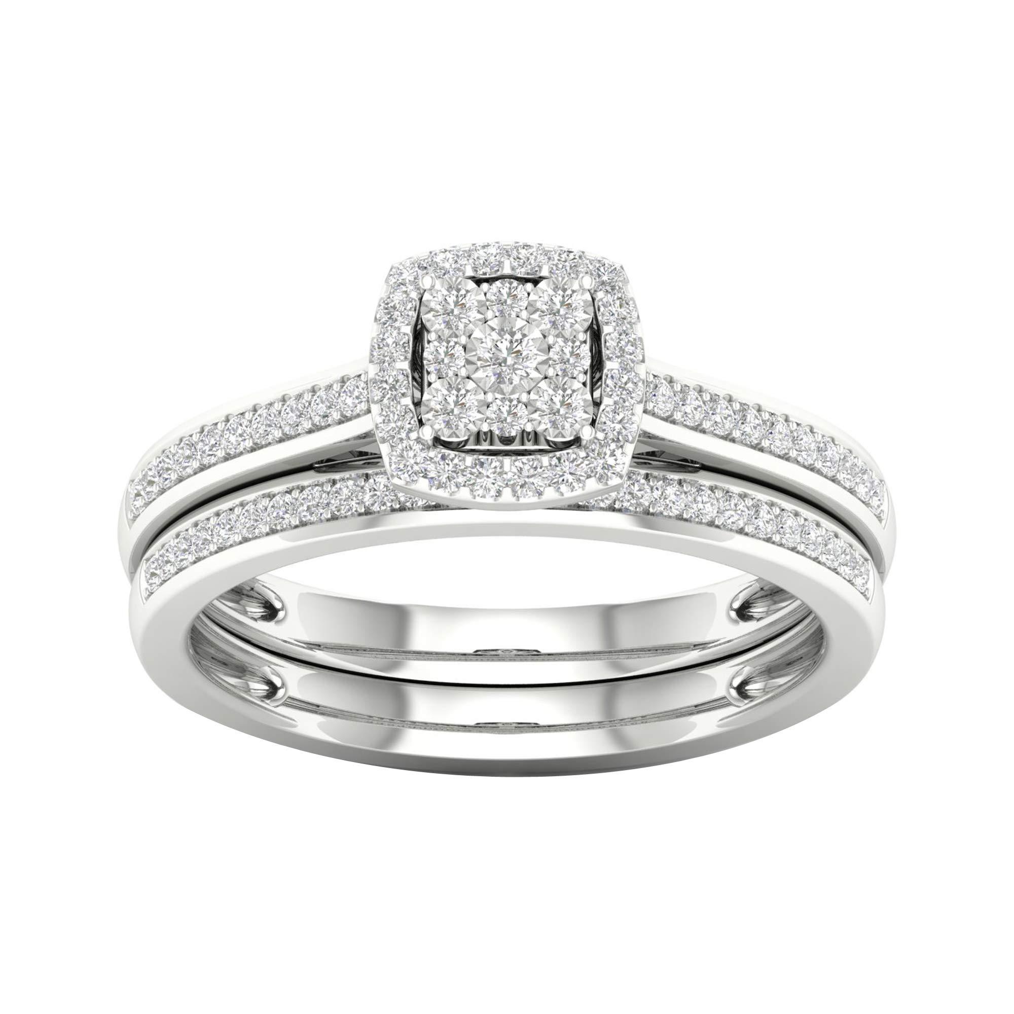 IGI Certified Sterling Silver 1/5ct TDW Diamond Halo Bridal Set