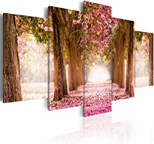 yj_art Pink and Green Landscape Picture Canvas Wall Art Cherry Blossom Print Painting for Living Room Decorations Modern Home Decor Pink Flower 5 panel (Overall Size: 40''W x 20''H)