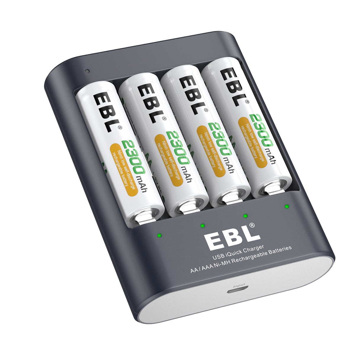 Amazon.com: EBL 40Min iQuick Smart Battery Charger with USB Port and AA  2300mAh Rechargeable Batteries 4 Counts: Home Audio & Theater