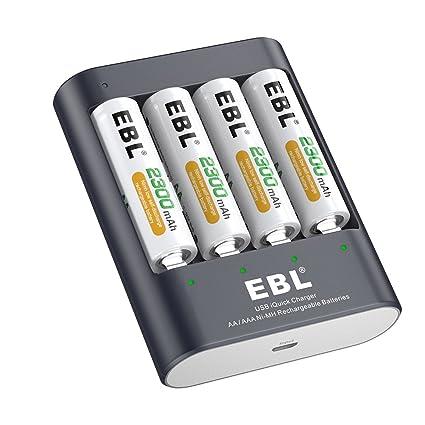 EBL - Cargador de baterías AA y AAA U421: Amazon.es: Electrónica