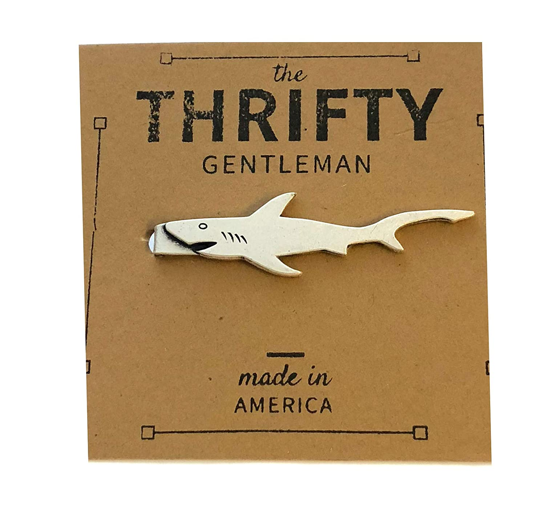 The Thrifty Gentleman Silver Ox Shark Tie Bar