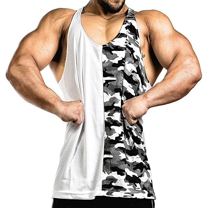 57e2aa9dfd838 Amazon.com  CRAZYBODIES Half Camo Mens Stringer Bodybuilding Fitness Muscle Workout  Gym Tank Top Singlet (X-Large