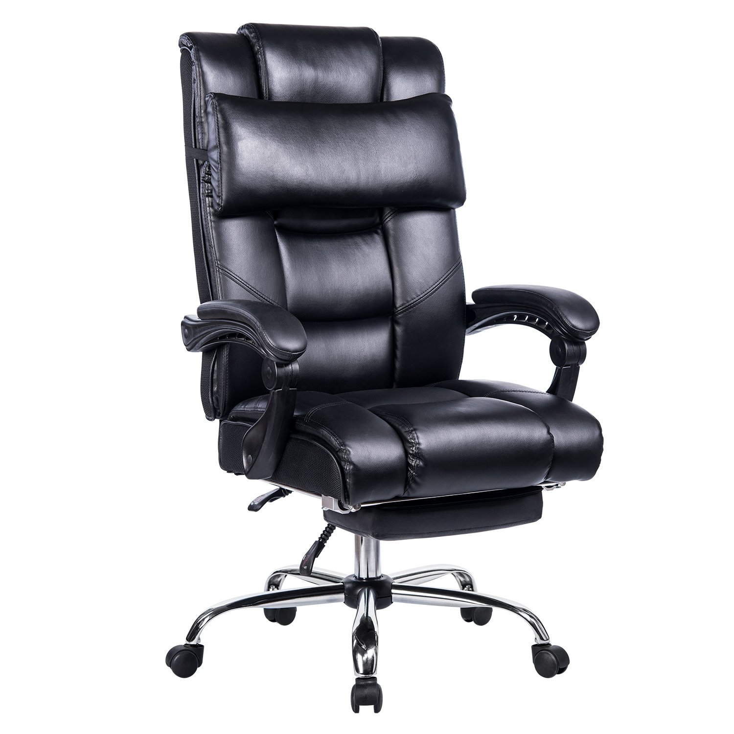 VANBOW Reclining Office Chair - High Back Bonded Leather Executive Chair with Retractable Footrest, Removable Pillow, Adjustable Angle Recline Lock System, Ergonomic Design, Black