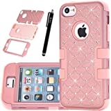 iPhone 5C Case,HKW Bling Rhinestone Glitter Sparkle 3 IN 1 Armor Defender Shockproof Protective Diamond Case Cover for Apple iPhone 5C with Stylus Pen (Rose Gold) (MA1838)