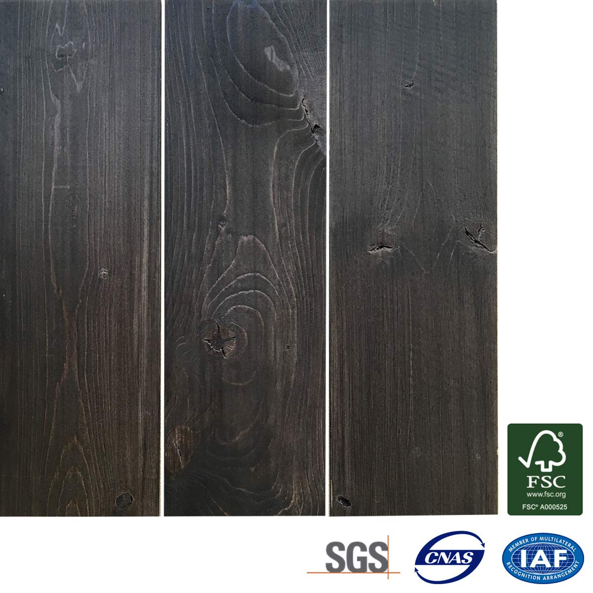 Wood Wall Panels DIY Easy Peel and Stick Wood Wall Paneling Solid Wood Planks 5 Wide-12.4 sq.ft, Grey Combination