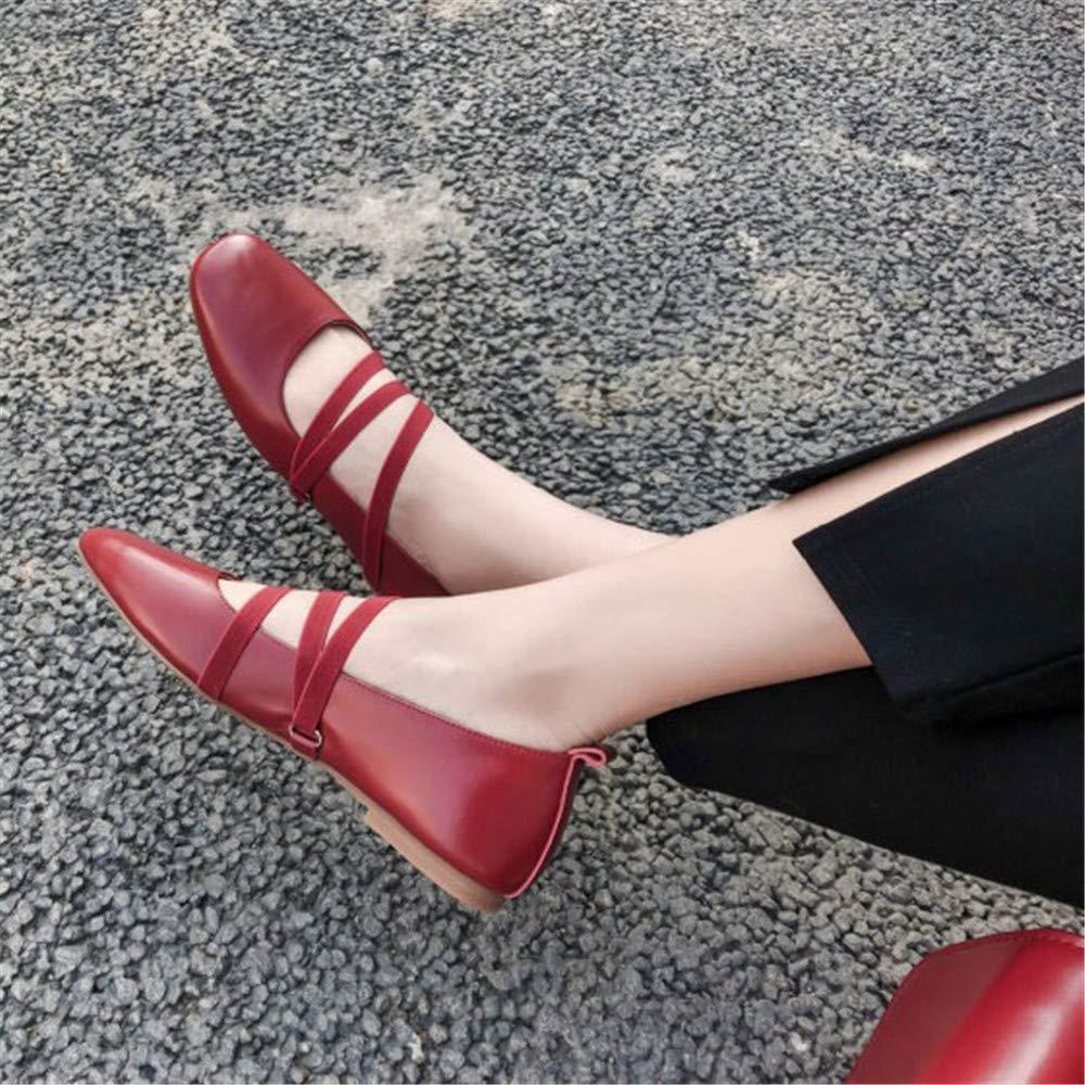 Chaussures Plates Chaussures Lady Mary Jane Chaussures De Danse De Yoga Chaussures en Cuir Souple Ballerines Chaussures /à Bout Carr/é Bandages /élastiques