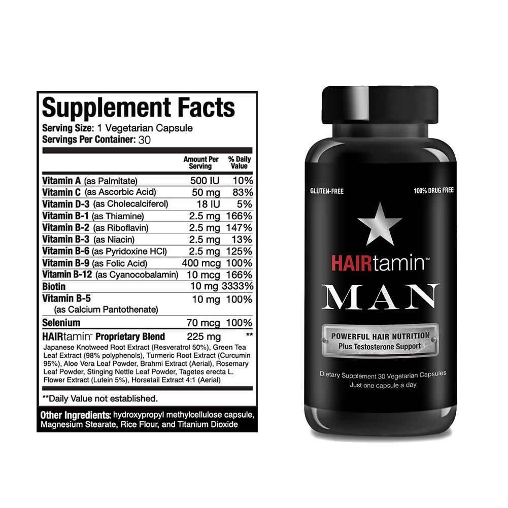 HAIRtamin Man Hair Growth Vitamins - Best Mens Biotin Fast Hair Growth Formula Vitamin Supplement for Thicker Fuller Healthier Hair and Beard Natural Daily Multi Vitamins (6 MONTH - 180 CAPSULES) by HAIRtamin (Image #7)