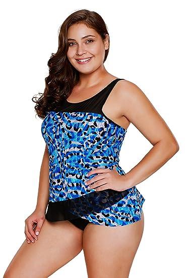 e8feb270ad8 XAKALAKA Womens Plus Size Swimsuit Tankini with Sexy Print Design at Amazon  Women s Clothing store