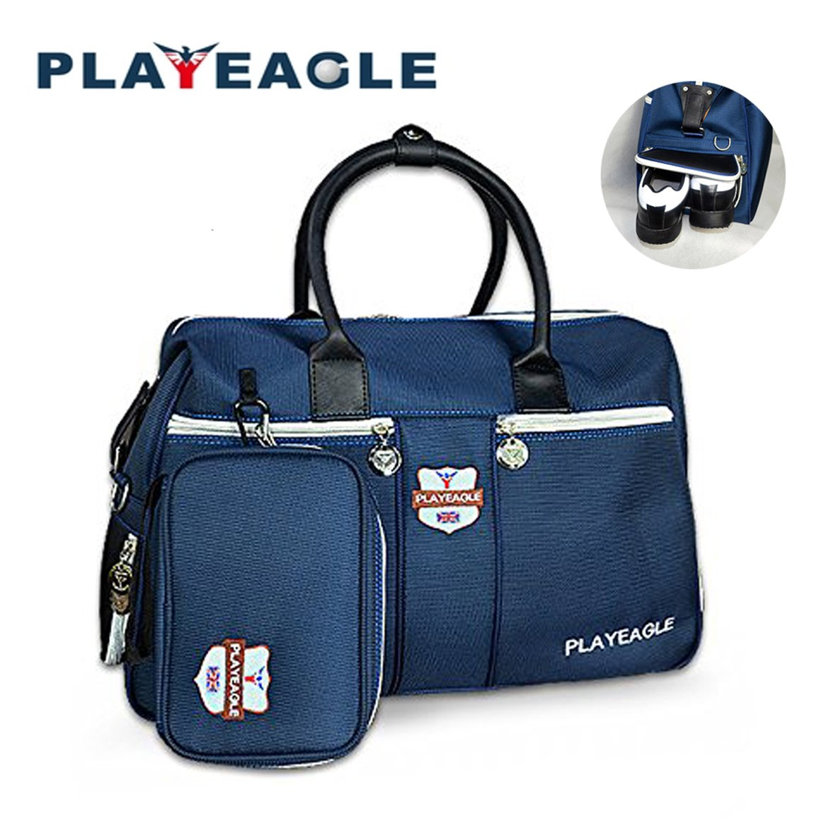 PLAYEAGLE Nylon Waterproof Golf Wrap Bag with Shoes Pocket Golf Duffle Bag Collection for Travel with Mini Handbag