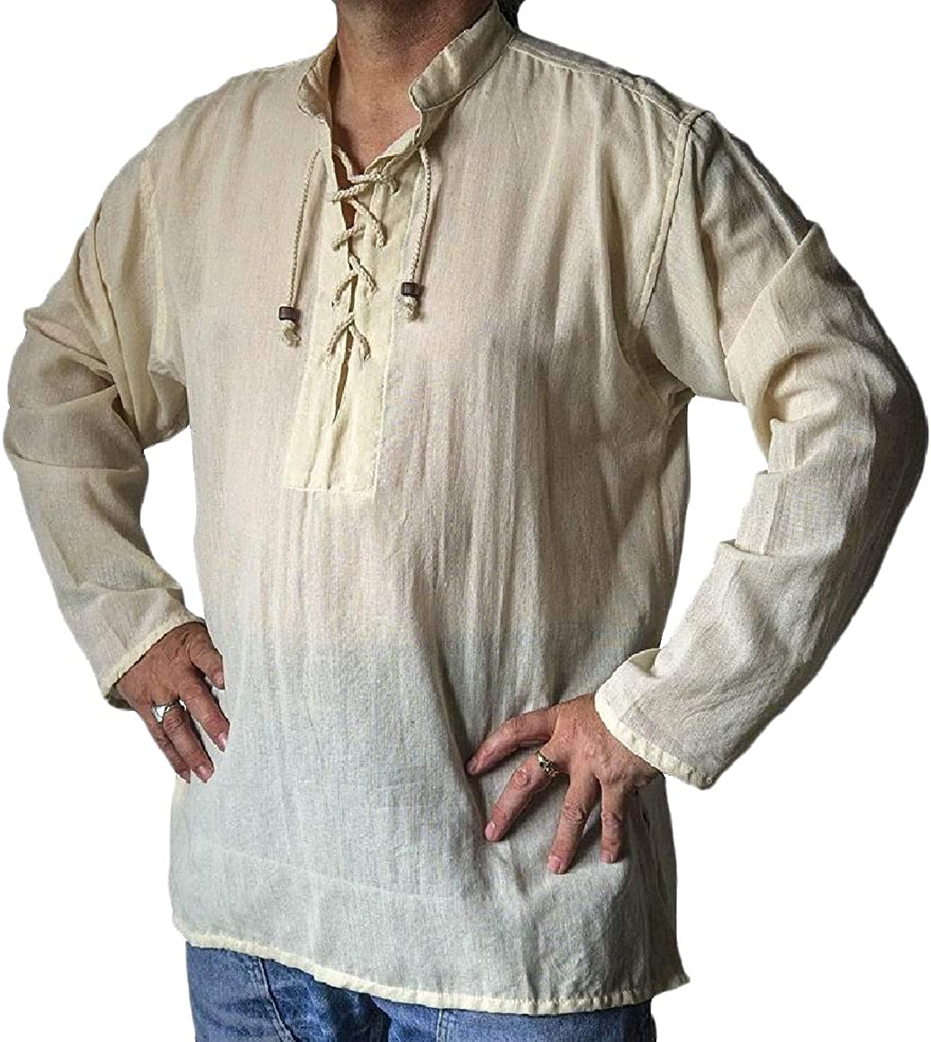 SportsX Mens Court Style Comfy Tribal Lace Up Linen Blouse Tunic Shirt