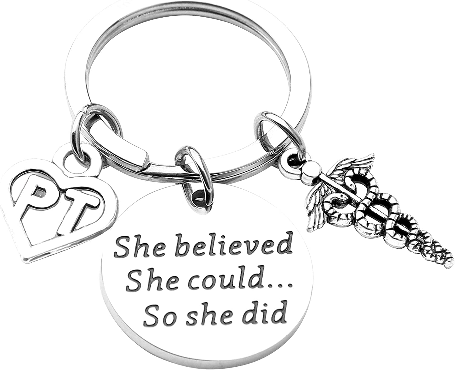 ENSIANTH Physical Therapy Keychain Physical Therapist Graduation Gift She Believed She Could So She Did Keychain