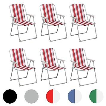 Silla playera plegable con rayas rojas y blancas para el ...