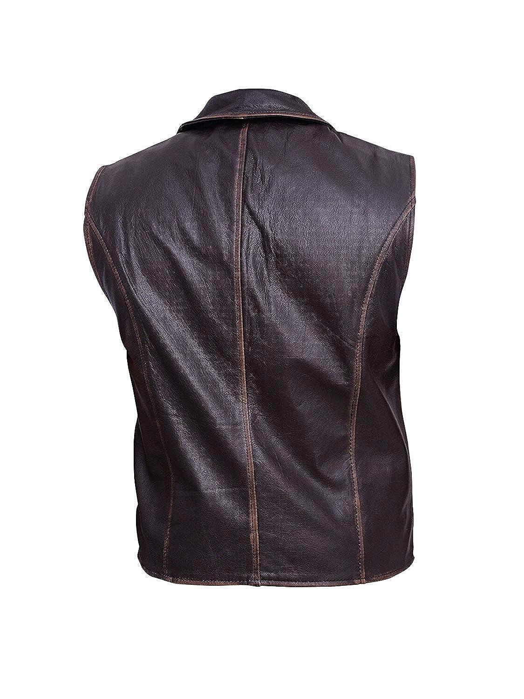 7f6dbc5c0 Trendhoop Men's Brown Cowhide Leather Distressed Vest