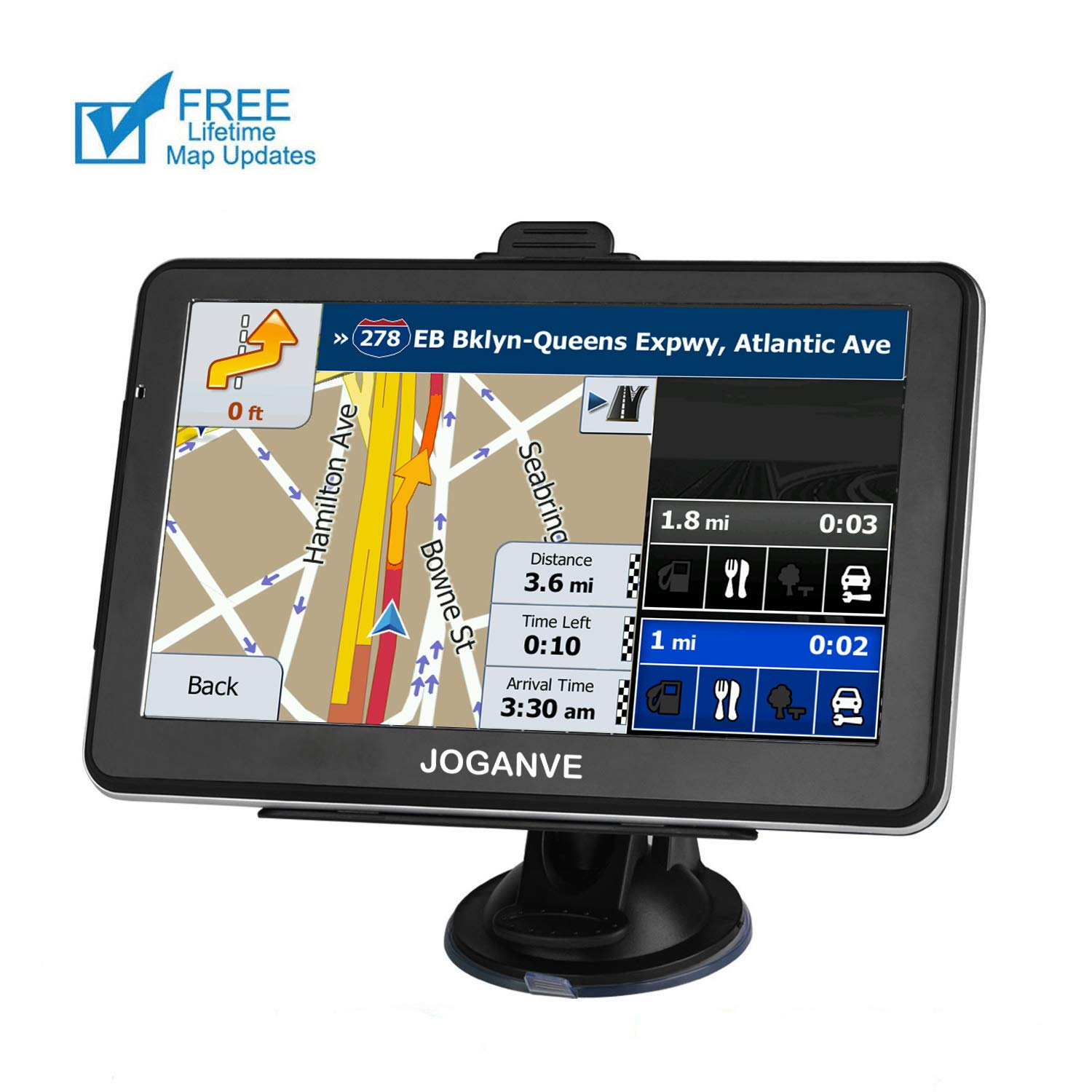 Car GPS Navigation, 7-inch HD Display, 256M Running Voice Broadcast Front Route, Top Loading North America Map Contains (USA, Canada, Mexico) Lifetime Map Free Update by JOGANVE