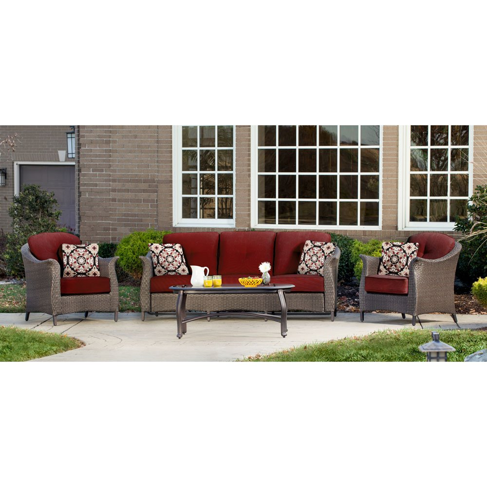 Hanover GRAMERCY4PC-RED Furniture Gramercy 4-Piece, Crimson Red Outdoor Wicker Patio Seating Set