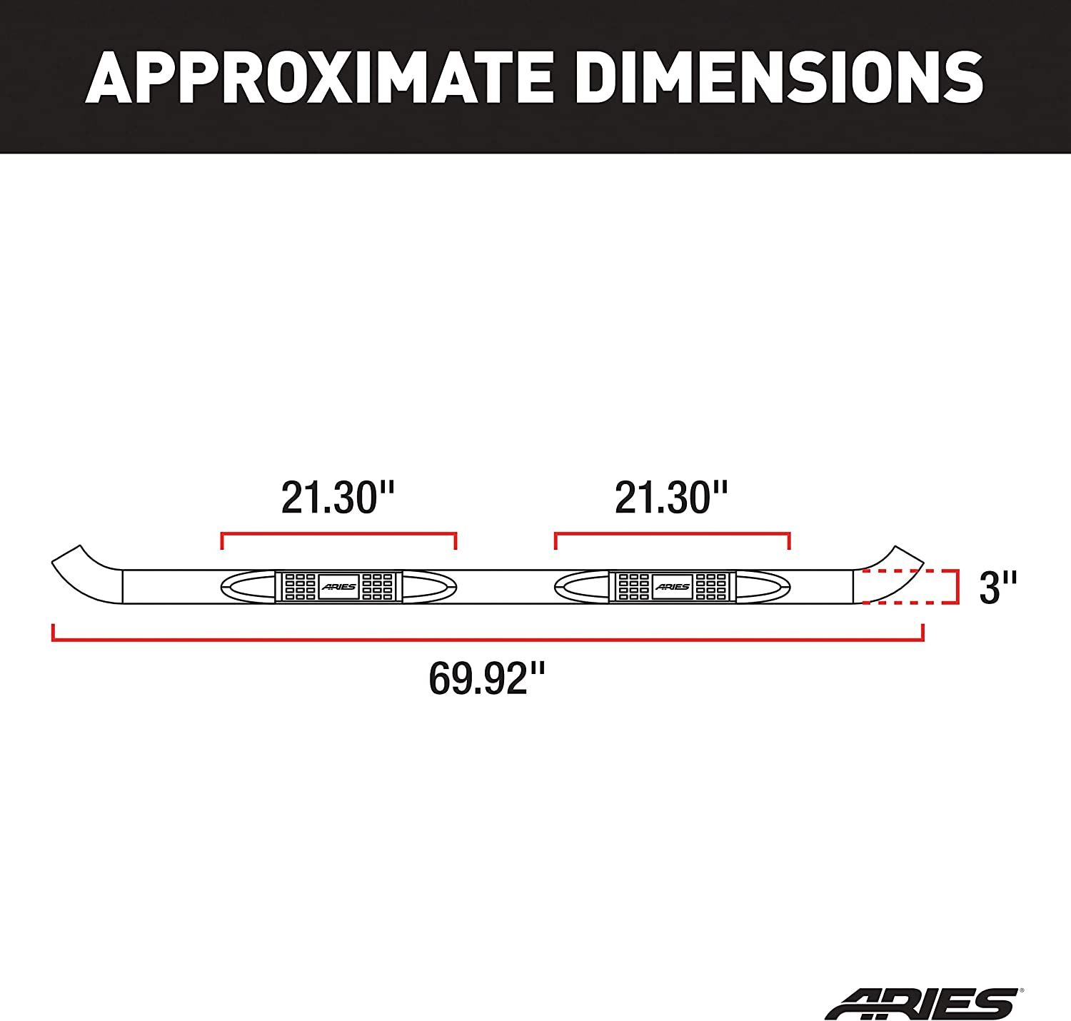 Aries Automotive 202016-2 3-Inch Stainless Steel Side Step Bar
