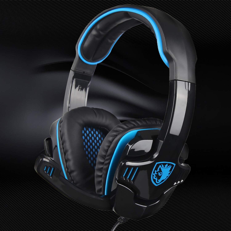 Stereo Gaming Headphone SADES SA708GT Headset Earphone with Microphone Black//Blue