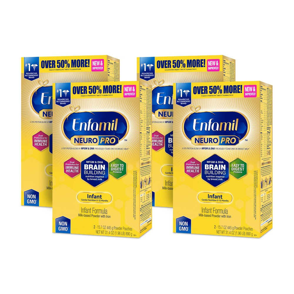 Enfamil NeuroPro Infant Formula - Brain Building Nutrition Inspired by Breast Milk - Powder Refill Box, 31.4 oz (Pack of 4) Mead Johnson & Company