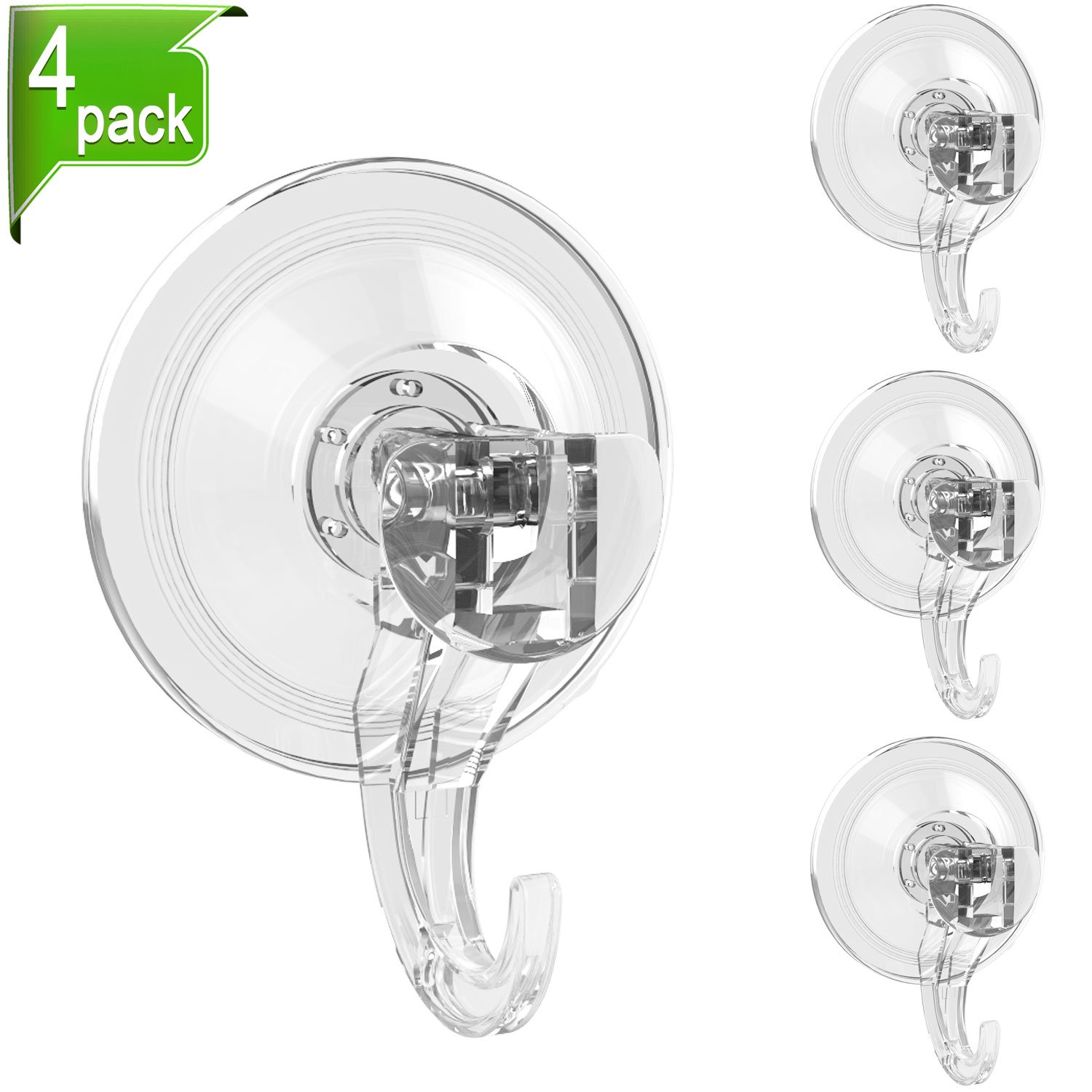 ilikable Suction Cup Hooks 4 Pack Heavy Duty Vacuum Suction Bathroom Wall Hooks Strong Towel Cloth Utensils Hanging Holder Hooks for Shower Bathroom Kitchen - Clear by ilikable