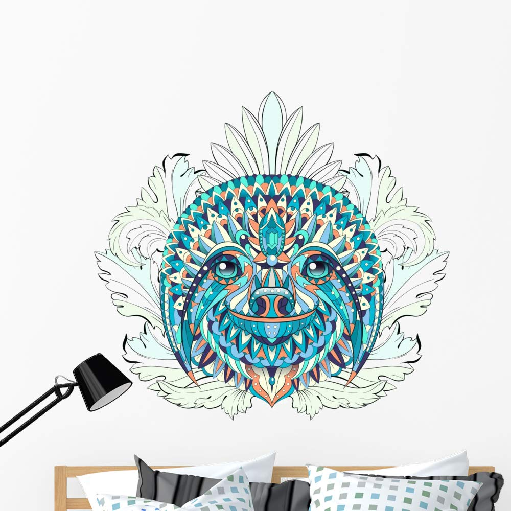 Wallmonkeys Patterned Tribal Floral Sloth Wall Decal Peel and Stick Animal Graphics (48 in W x 45 in H) WM502882