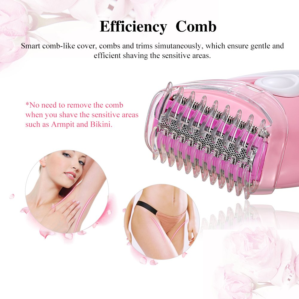 TOUCHBeauty Ladies Electric Shaver, Women Shaver Electric Razor Bikini Trimmer Waterproof Wet and Dry Face Leg Armpit Hair Removal Razor Epilator TB-1459