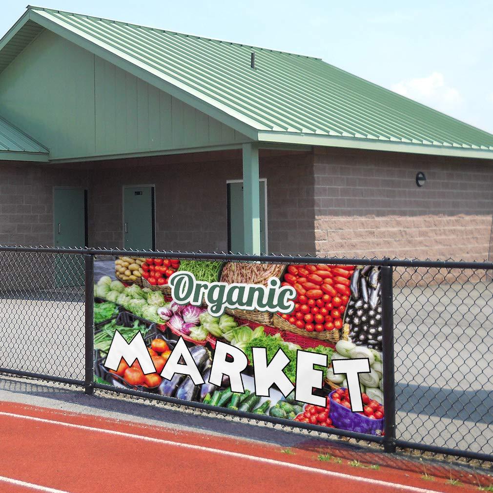 One Banner 8 Grommets Vinyl Banner Sign Organic Market Business Organic Market Marketing Advertising Orange Multiple Sizes Available 44inx110in