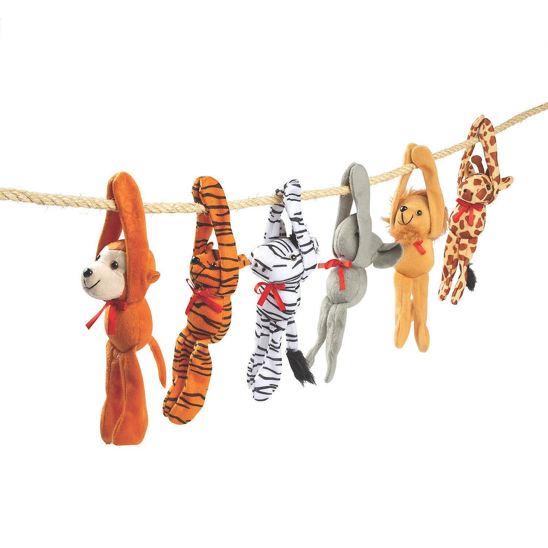 Fun Express - Plush Long Arm Zoo Animals W/Velcro Paws - Toys - Plush - Long Arm Plush - 12 Pieces by Fun Express