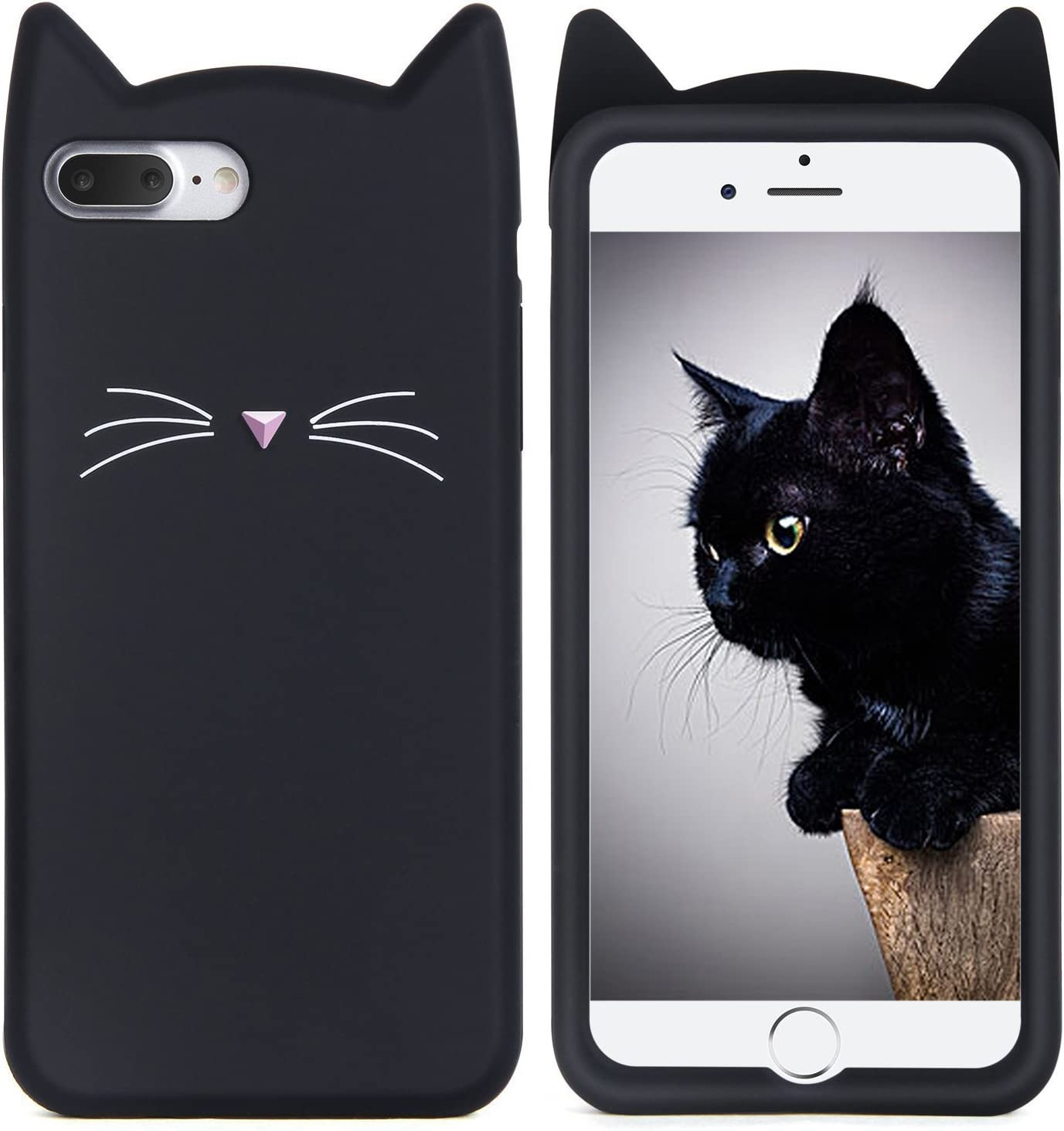 iPhone 7 Plus Case, MC Fashion Cute 3D Black MEOW Party Cat Kitty Whiskers Protective Soft Case Skin for Apple iPhone 7 Plus (2016) (Cat ...