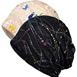 Womens Cotton Beanie Lace Turban Soft Sleep Cap Chemo Hats Fashion Slouchy Hat