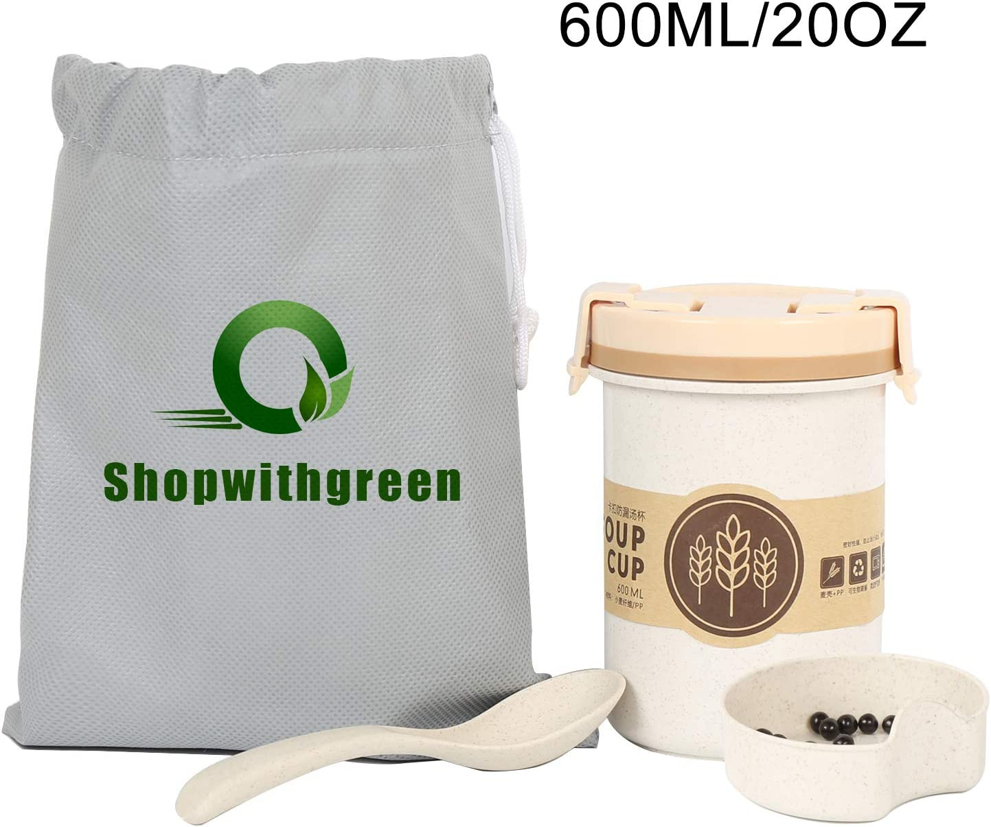 Shopwithgreen Leakproof To Go Soup Container with Spoon and Carry Bag– 20 OZ Portable Travel Cup – Microwave and Dishwasher Safe, Silicone Seal, BPA free, Eco-Friendly Wheat Straw Material
