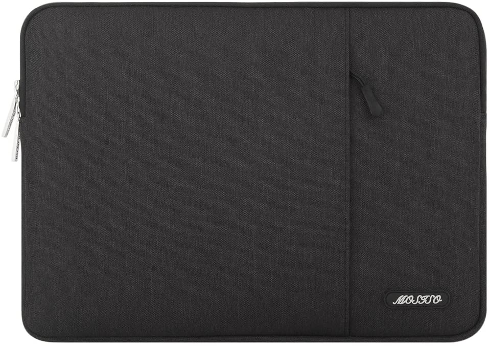 MOSISO Laptop Sleeve Bag Compatible with 13-13.3 inch MacBook Pro, MacBook Air, Notebook Computer, Water Repellent Polyester Vertical Protective Case Cover with Pocket, Black