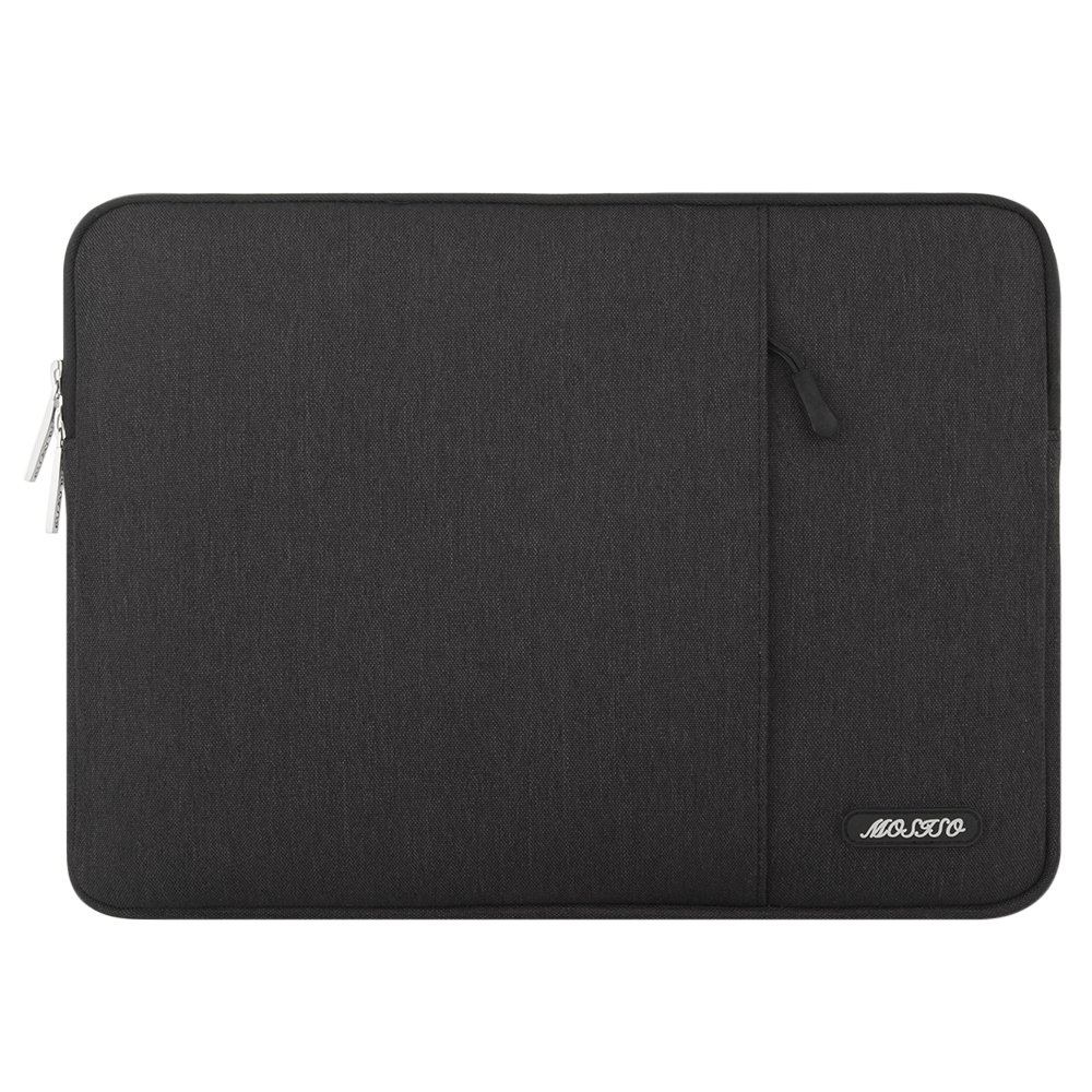 MOSISO Laptop Sleeve Compatible with 2019 2018 MacBook Air 13 inch Retina Display A1932, 13 inch MacBook Pro A2159 A1989 A1706 A1708, Notebook, Polyester Bag with Vertical Pocket, Black