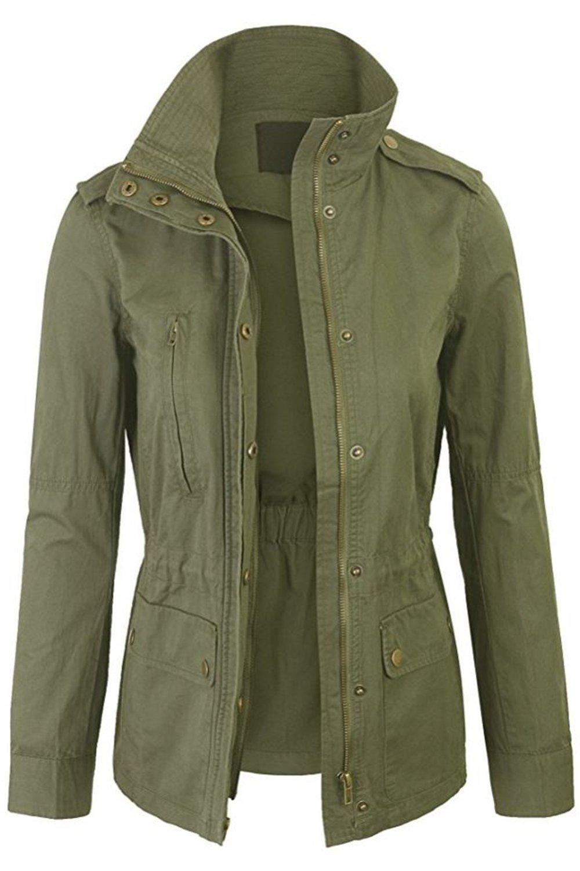 FASHION BOOMY Womens Zip Up Military Anorak Jacket W/Hood (Medium, L-Olive)
