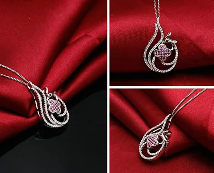 AMDXD Jewelry Sterling Silver Pendant Necklaces for Women Bird Phoenix White 2.9X1.8CM