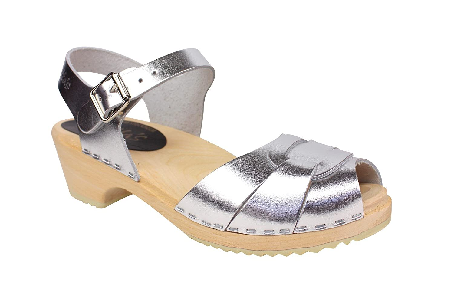 Lotta From Stockholm Low Peep Toe Clogs in Silver