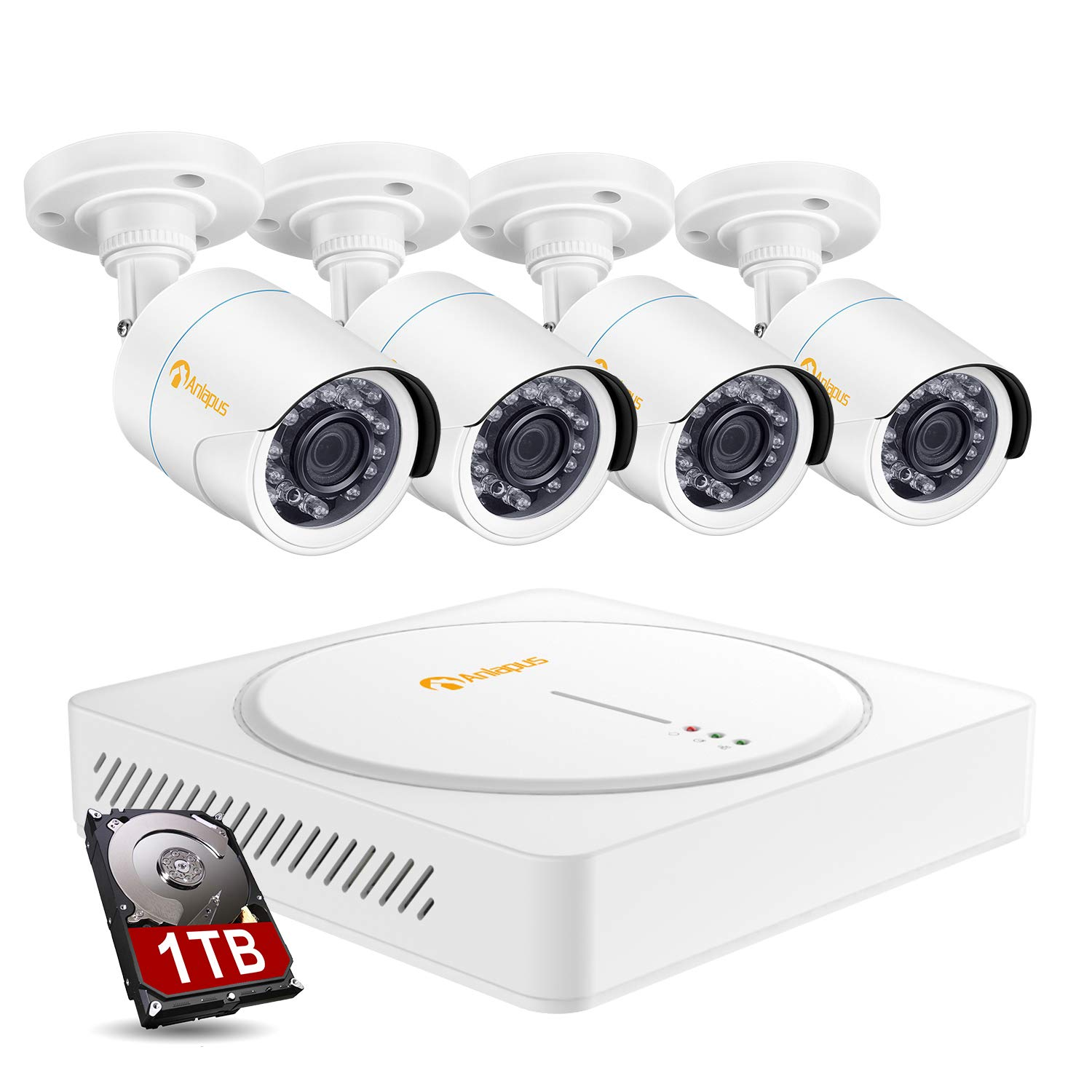 Anlapus 8IS-124W4-10-FBA 8CH CCTV Camera System 8 Channel 1080p CCTV DVR Recorder with 1TB Hard Drive and 4pcs 2.0MP HD Outdoor Indoor Waterproof Security Cameras for Homes Customize Motion Zone by Anlapus