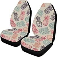 f2103131590 INTERESTPRINT Hand Drawn Pineapple Fruits Front Seat Covers 2 pc,Vehicle  Seat Protector Car Mat