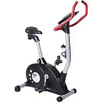 Ultrasport Bicicleta estática Racer 600 con sensores de pulso de mano / ergómetro con consola y 12 programas con 16 niveles de resistencia; bicicleta estática con bidón, ideal para el entrenamiento de fitness y resistencia
