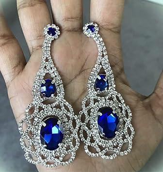 "3/"" Long Rhinestone Royal Blue Pageant Wedding Crystal Earrings gold pierced"